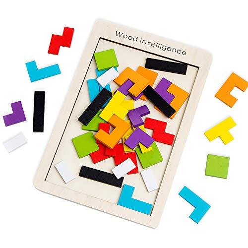 Buself Tetris Holzpuzzle Spielzeug ab 3 Jahren Jungen Tetris Tangram Holzpuzzles Lernspiele ab 2 3 4 5 6...