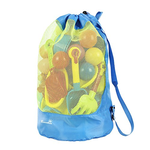 Strandspielzeug Tasche Strandtasche Mesh Beach Bag EocuSun für Sandspielzeug Wasserspielzeug Rücksack...