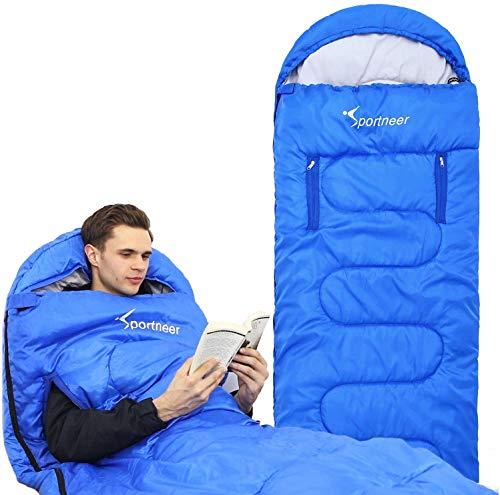 Schlafsack, Sportneer Anziehbarer Deckenschlafsäcke 220 x 84 cm tragbarer 4-Jahreszeiten-Schlafsack mit...