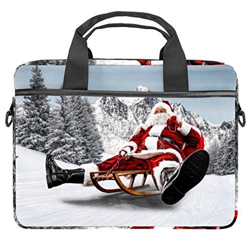 Laptoptasche mit rotem Weihnachtsmann auf Holzschlitten und Segeltuch-Muster, Aktentasche für Laptops...
