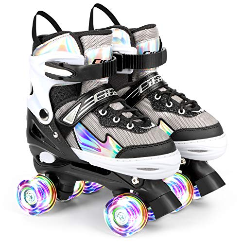 AILUKI Rollschuhe für Kinder Roller Skates für Anfänger größenverstellbare (Größe 31-42), Bequem...