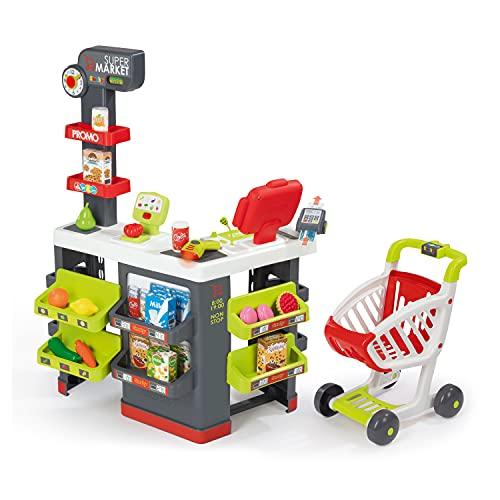 Smoby - Supermarkt mit Einkaufswagen - Spielsupermarkt mit Licht, Sound und Elektronischen Funktionen,...