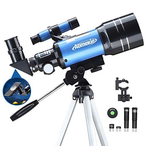 Aomekie Refraktor Teleskop Kinder Einsteiger 40/400 Astronomisches Teleskop Fernrohr Teleskop mit...