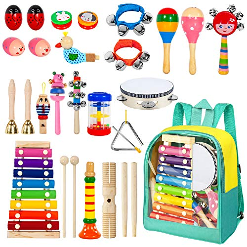 AILUKI 24 Stück Musikinstrumente Musical Instruments Set, Holz Percussion Set Schlagzeug Schlagwerk...