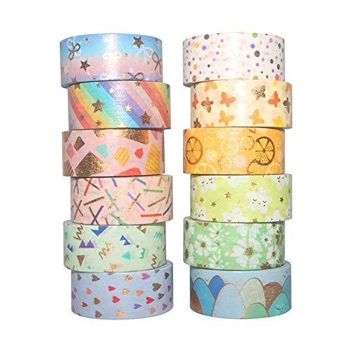 Jabtraxx 12 Rollen Washi Tape Set Scrapbook Tape Bastelbedarf, süße Goldfolie dick für DIY Craft,...