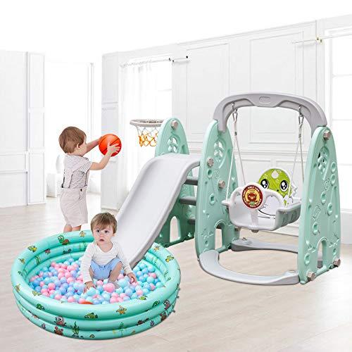 VEVOR Kinder Rutsche mit Schaukel 5 in 1 Kinderschaukel mit Basketballkorb Kinderrutsche mit Aufblasbarer...