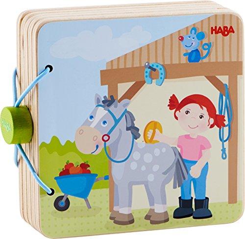 HABA 303774 - Holz-Babybuch Reiterhof   Stabiles Holzbuch ab 10 Monaten  Leicht zu greifende Seiten aus...