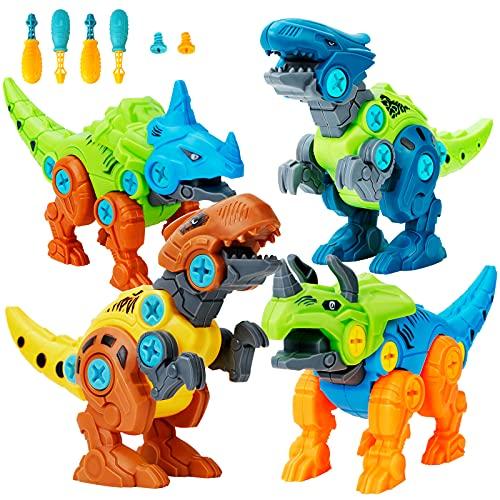 Lekebaby Dinosaurier Montage Spielzeug, 4 Stück Dinosaurier Spielzeug mit Werkzeugen DIY Gebäude...