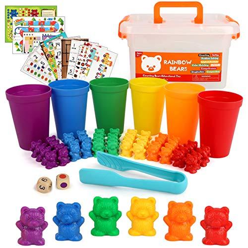 BeebeeRun 82 Stück Montessori Spielzeug Zählen und Einstufung sortierspiel 6 Farben Bären...