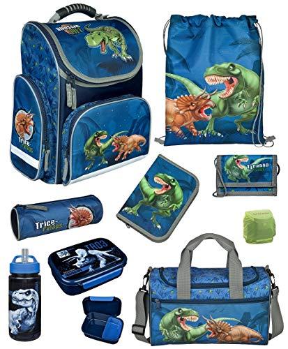 Familando Dinosaurier Schulranzen-Set 9 TLG. Modell CLOU Ranzen 1. Klasse mit Federmappe, Sporttasche und...