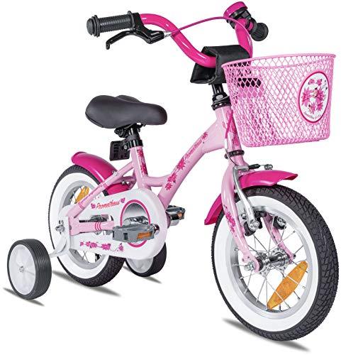 Prometheus Mädchenfahrrad 12 Zoll mit Stützräder Kinderfahrrad ab 3 Jahre Mädchen Rücktritt 12zoll...