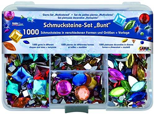 Kreul 49641 - Schmucksteine Set, 1000 bunte Steine in verschiedenen Formen und Größen, für die...
