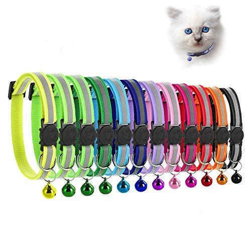 MAIYADUO Katzenhalsband,Katzenhalsbänder mit Glocke, reflektierend, individuell einstellbar,...