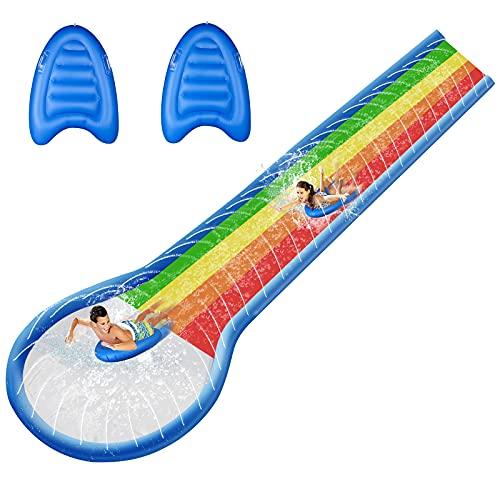 Rasen Wasserrutsche für Kinder/Jugendliche/Erwachsene 600x150cm Aufblasbare Wasserbahn mit Sprinkler...