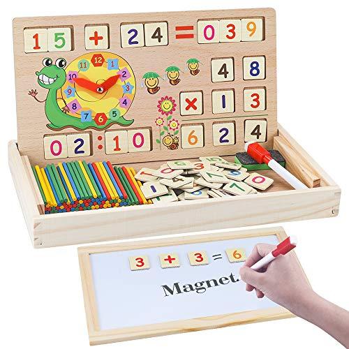 MEckily Montessori Holz Spielzeug ab 3 4 5 6 Jahr Jungen und Mädchen, Magnetisches Holzpuzzle mit 3...