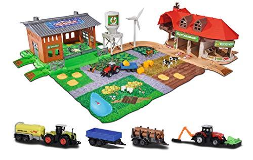 Majorette 212050009 Creatix Big Farm Set, Bauernhof-Spielset inkl. 3 Fahrzeugen + 2 Anhägern, Traktor,...
