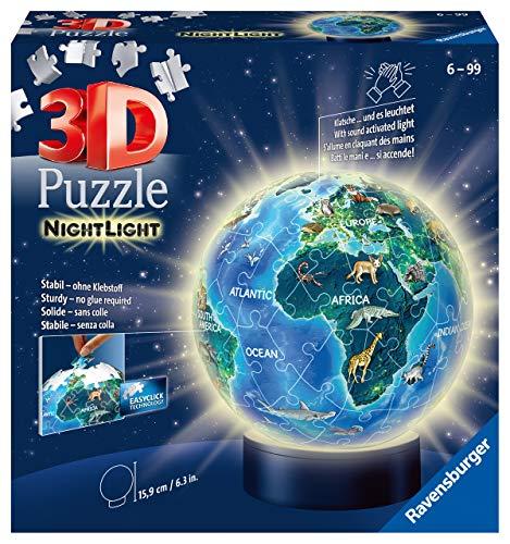 Ravensburger 3D Puzzle 11844 - Nachtlicht Puzzle-Ball Globus - 72 Teile - ab 6 Jahren, LED...