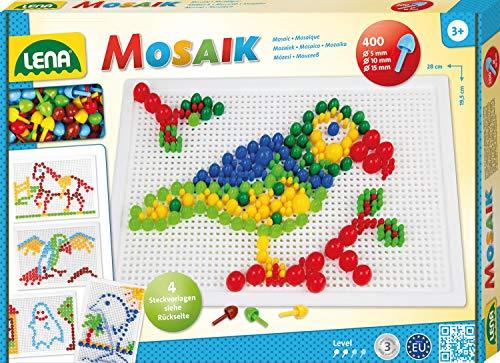 Lena 35614 x Steckmosaikspiel Steckern, Mosaiksteine mit Ø von 5 mm, 10 mm und 15 mm, Mosaikspiel mit 4...