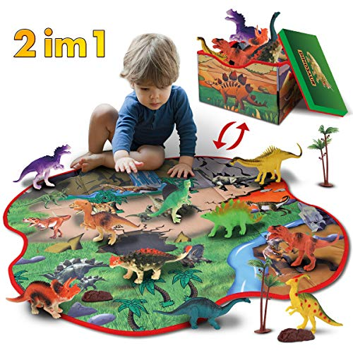 GILOBABY kid dinosaurier spielzeug mit 2 in 1 spielmatte & bäume & felsen, pädagogisches lernen dino...