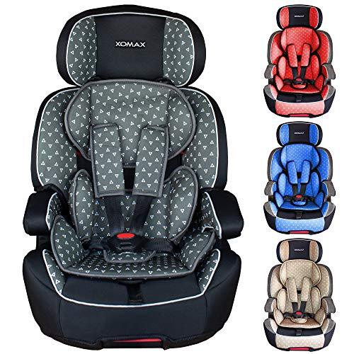 XOMAX XL-518-Grau Kindersitz mit ISOFIX I mitwachsend I 9-36 kg, 1-12 Jahre, Gruppe 1/2/3 I 5-Punkt-Gurt...