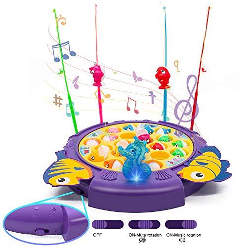 Angelspiel für Kinder ab 3 Jahren,Fische Angeln Spiel mit 21 Fische und 4 Ruten Musik Angel Spiel...