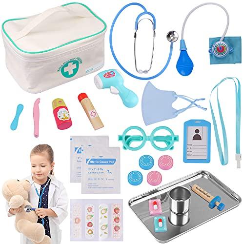 Sundaymot Arztkoffer Kinder Holz Doktor Spielzeug mit Echt Stethoskop Thermometer, Spritze und...