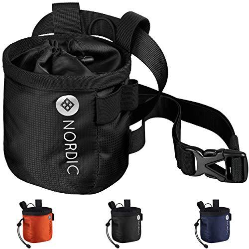 Nordic® Chalkbag (schwarz) z. Klettern & Bouldern - ultraleichter Magnesiabeutel - Chalk Bag Hüftgurt...