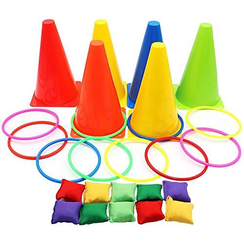 3-in-1 Karnevals-Spiele-Set, weiche Kunststoffkegel, Sitzsäcke, Ringwurfspiele für Kindergeburtstag,...