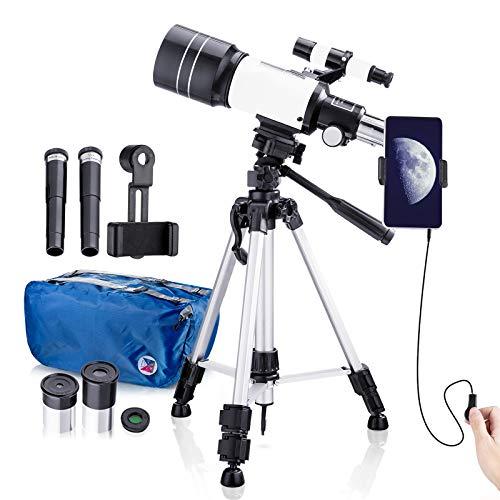 Teleskop Kinder, 70mm Teleskop Astronomisches für Kinder und Einsteiger, 15x-150x Refraktor Teleskop mit...