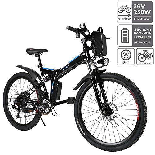E-Bike Faltbares Elektrofahrrad Mountainbike 26 Zoll Elektrofahrrad 350W Elektrisches Fahrrad mit Shimano...