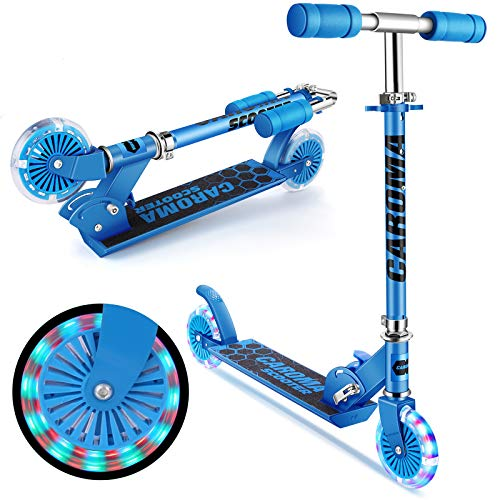 Roller Kinder Scooter ,Caroma Tretroller für Kinder mit LED-Beleuchtung, Tretroller, 3...
