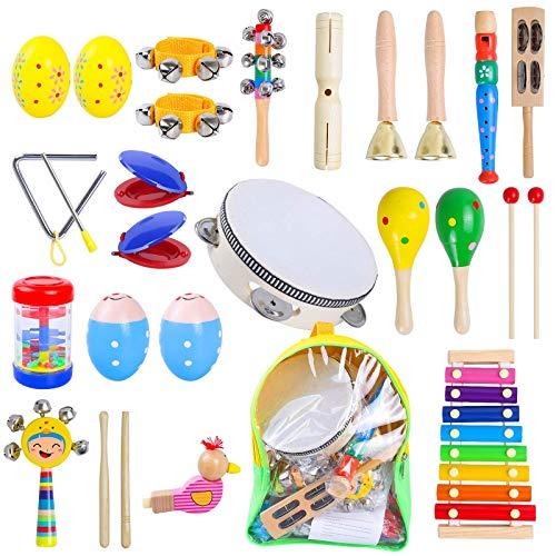 Rabing 27 Stück Musikinstrumente Set, Holz Percussion Set Musical Instruments Spielzeug Schlagzeug,...