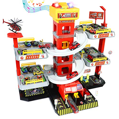 Fajiabao Feuerwehrstation Parkgarage für Kinder Parkhaus Feuerwehr Spielzeug Autogarage mit 4...