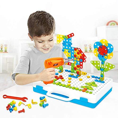 Lekebaby Steckspiel Bohrmaschine 237PCS Mosaik Spielzeug Bohrer Kreatives DIY Werkzeuge Spielzeug für...