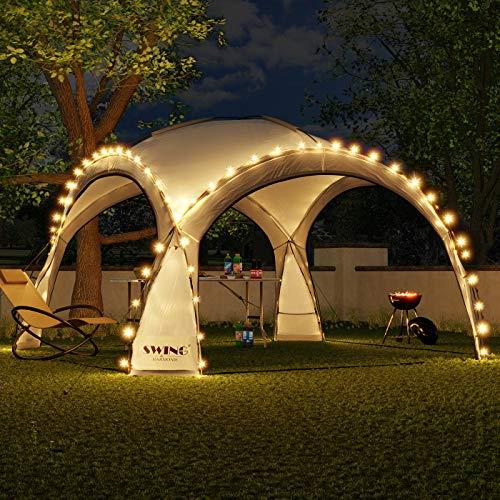 Swing & Harmonie LED Event Pavillon 3,6 x 3,6m DomeShelter Garten Pavillion inkl. Solarmodul Pavilion...