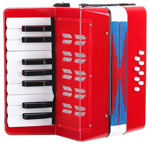 Classic Cantabile Bambino Rosso Kinder Akkordeon, Rot (ab 3 Jahre, 17 Noten Tasten, 8 Bässe,...