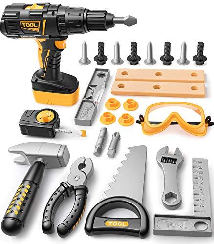 GeyiieTOYS Kinder Werkzeug Set, 27 Stücke Kinderwerkzeug Elektrische Bohrmaschine Werkzeug Spielzeug...