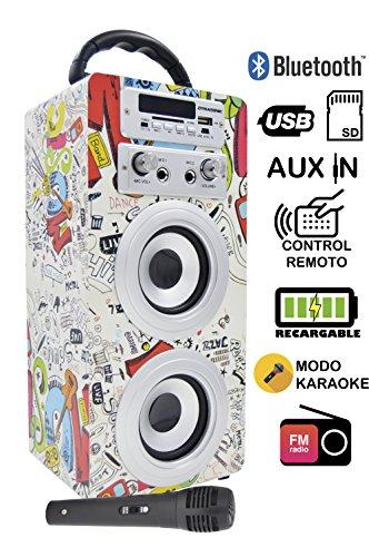 DYNASONIC - Tragbarer Bluetooth-Karaoke-Lautsprecher mit 1 Mikrofon, USB- und SD-Lesegerät, FM-Radio...