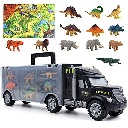 Akokie Dinosaurier Spielzeug LKW Spielzeug Dino Transporter mit 12 Dinosaurier Figuren & Tiere Spielzeug...