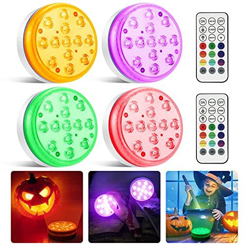 Moxled Halloween Deko, 13 LED Poolbeleuchtung Unterwasser Magnetische mit Fernbedienung, Wasserdichte...