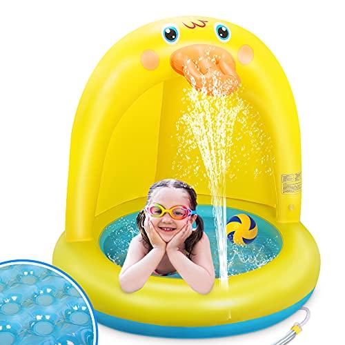 LETOMY Splash Pool, Kleine Gelbe Ente Planschbecken Wassersprühspielzeug für Sommergarten-Partys im...