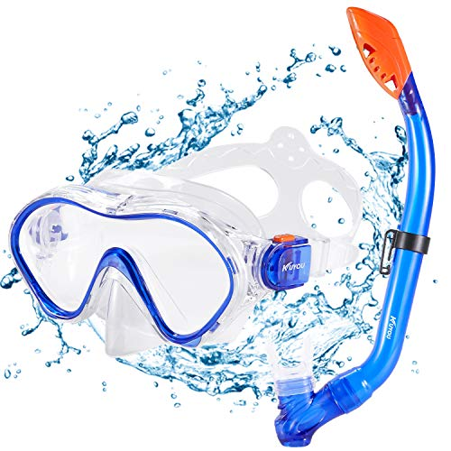 KUYOU Premium Kinder Schnorchelset Taucherbrille mit Schnorchel Tauchset gehärtete Anti-Beschlag Gläser...