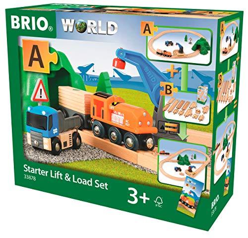 BRIO World 33878 - Starterset Güterzug mit Kran Spielset Holzeisenbahn