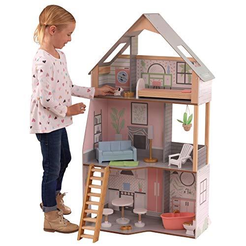 KidKraft 10229 Alina Puppenhaus aus Holz mit Möbeln und Zubehör, Spielset mit drei Spielebenen für 30...