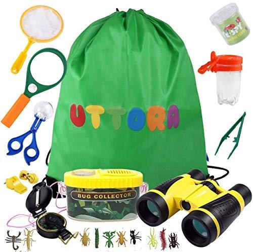 UTTORA Fernglas Kinder, Draussen Forscherset für Kinder 21 Stück Spielzeug Set mit Bug Catcher Pinzette...