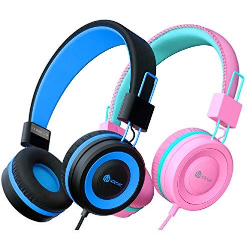 Kinder Kopfhörer 2 Pack, kabelgebundene Kopfhörer für Kinder mit MIC, Lautstärkeregelung einstellbare...