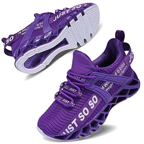 allchar Jungen Mädchen Sportschuhe Tennisschuhe Unisex-Kinder Sneakers Laufen Schuhe (35 EU, Violett,...