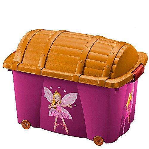 Aufbewahrungsbox für Mädchen 'Fee' | 50L | mit Deckel | mit 4 Rollen | vielseitig einsetzbar -...