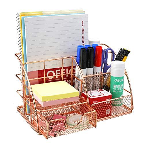 Comfook Schreibtisch organizer für Büro,Tisch Organizer in Roségold Multifunktionales Organisator...