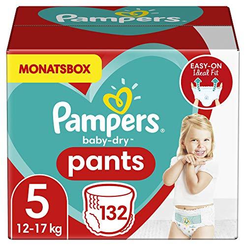 Pampers Windeln Pants Größe 5 (12-17kg) Baby Dry, 132 Höschenwindeln, MONATSBOX, Einfaches An- und...